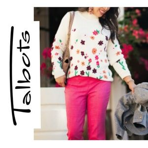 Talbots Floral Embroidered Sweater Sz Petite